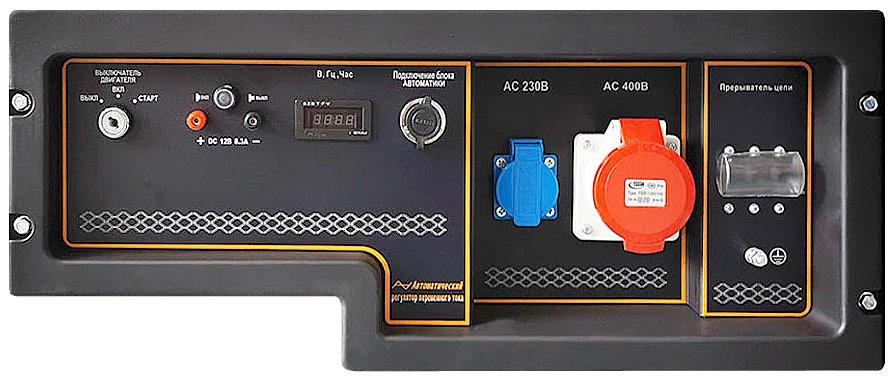 Розетки на 220 Вольт и 380 Вольт на панели управления генератора